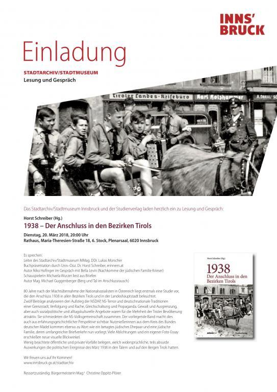 Einladung zu Lesung und Zeitzeuginnengespräch im Plenarsaal der Stadt Innsbruck, Maria-Theresien-Str. 18, 20.3.2018, 20 Uhr