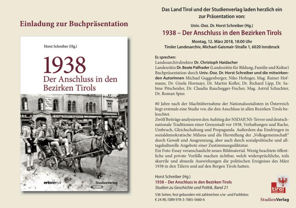 Einladung zur Buchpräsentation im Tiroler Landesarchiv, Gaismair-Str. 1, 18 Uhr