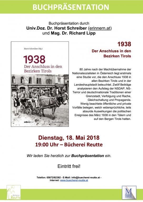 Einladung zur Buchpräsentation in Reutte, Bücherei Reutte, Planseestraße 6, 18.5.2018, 19 Uhr
