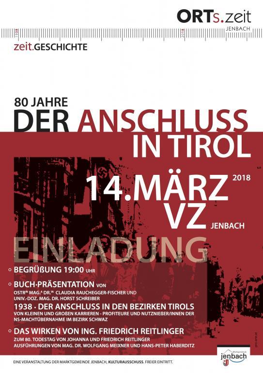 Einladung zu Vortrag und Buchpräsentation im VZ Jenbach, Achenseestraße 50