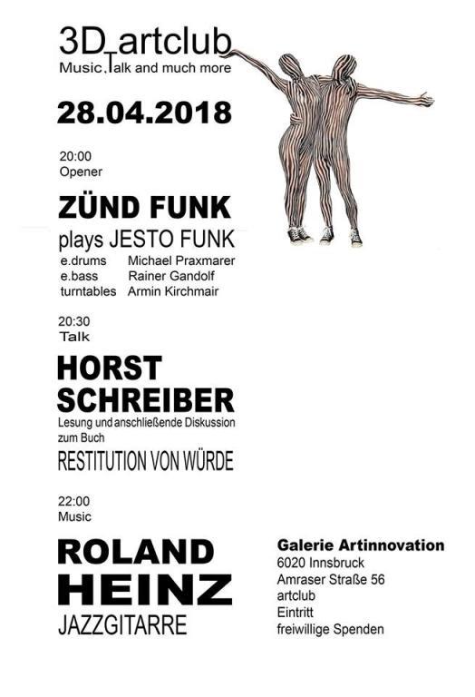 28.4.2018: Jesto Funk, Jazz, Vortrag und Gespräch zu Kindheit und Gewalt in Heimen der Stadt Innsbruck